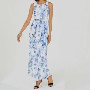 essica Howard Women's Blue Waist-Tie Floral Petite